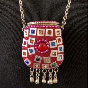 Vintage Silver Afghan Kuchi Prayer Box Necklace